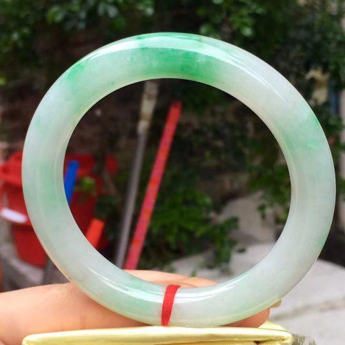 【大圈圆条绿花翡翠手镯】
