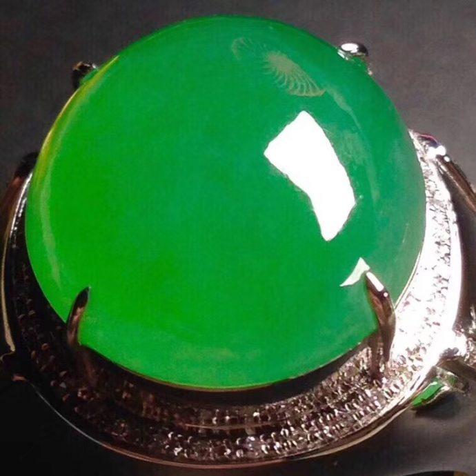 冰正阳绿翡翠戒指